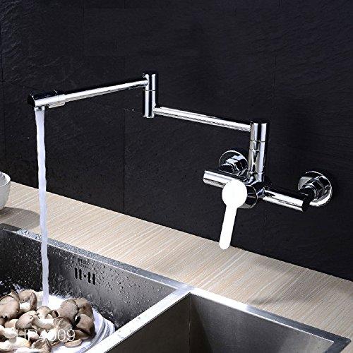 Lonfenner Grifo de pared, diseño moderno giratorio, cromado, cobre, , grifo de agua caliente y frí.