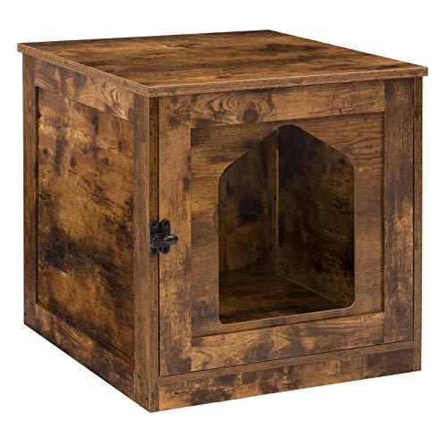 HOOBRO Katzentoilette, Katzenhaus mit Tür, Katzenschrank Entlüftung, eräumiger Katzenhöhle für große und kleine Katzen, stabile, Beistelltisch, Nachtschrank, Holzkonstruktion, Eingang, Flur EBF01MW01
