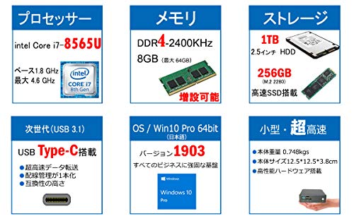『Skynew 小型パソコン ミニPC Core i7-8565U / メモリ 8GB DDR4L / ストレージ 256GB SSD、1TB HDD / Windows10 Pro / 4K対応 2画面同時出力 PXEブート WOL RTC 高速 小型PC デスクトップ ミニパソコン 品番K6』の7枚目の画像