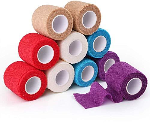 LotFancy Haftbandage Selbsthaftende Bandage, Elastischer Fixierverband, 5 cm x 4,57 m, 10 Rollen, Erste-Hilfe-Klebeband, für Schwellung und Schmerzen