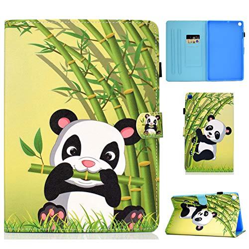 AsWant Hülle für Samsung Tab A7,Galaxy Tab A7 PU Leder Schutzhülle Brieftasche Flip Hülle Auto Schlaf/Wach Function Tablet Hülle für Samsung Galaxy Tab A 10.4 Zoll 2020 SM-T500/SM-T505 Panda Bambus