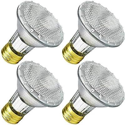 Luxrite LR20613 38PAR20/120V 38-Watt Eco Halogen Par Light Bulb, Glass Cover, Dimmable, Equivalent to 50W Incandescent, 500 Lumens, E26 medium base