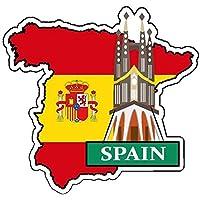 ナショナルフラッグ&マップシリーズステッカー 国旗地図 防水紙シール スーツケース・タブレットPC・スケボー・マイカーのドレスアップ・カスタマイズに (スペイン)