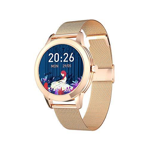 DHTOMC Señoras reloj inteligente monitoreo del sueño pulsera deportiva impermeable control de música multifunción SMS recordatorio-dorado