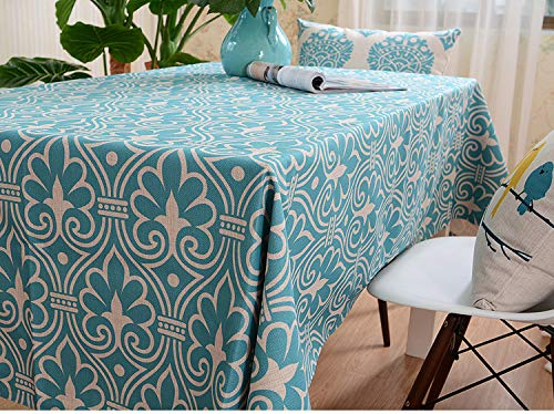 LCBQH Square And Rectangle Table Cloth, Oil-Proof Spill-Proof And Water Resistant Microfiber Tablecloth, Decorative Fabric Table Cover for Outdoor And Indoor Use (145 * 180,Blu)