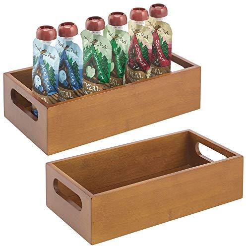 mDesign Juego de 2 cajas organizadoras con asas – Práctico cajón de madera para almacenar alimentos, especias, nueces o botellas – Organizador de cocina abierto en madera de bambú – marrón