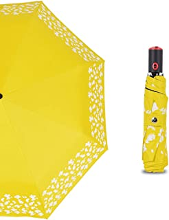 Automatic Umbrella Folding Umbrella Travel Umbrella Anti-UV Sun Umbrella Umbrella Surface Increase Huhero (Color : Yellow)