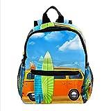 Daypack Autobús con Tablas de Surf Mochila para niños Infantile Kindergarten Guarderia Mochila Escuela para niña y niño 3-8 años 25.4x10x30 CM