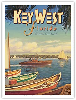 Key West, Florida - Vacation Year-Round - Ernest Hemingway's Yacht Pilar - Vintage Style World Travel Poster by Kerne Erickson - Master Art Print - 9in x 12in