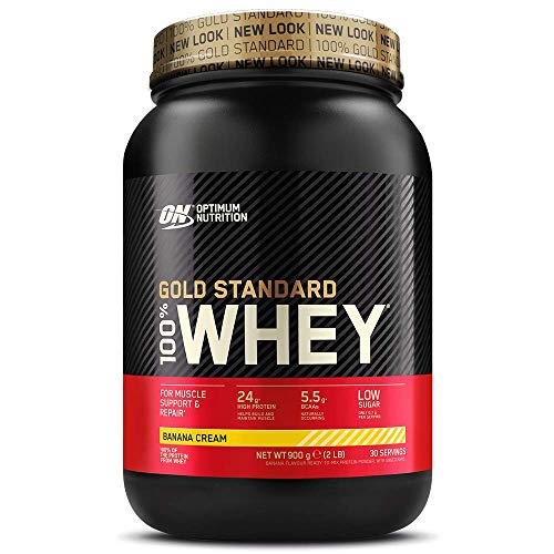 Optimum Nutrition Gold Standard Whey Protein Powder Muscle Building Supplements with Glutamine and Amino Acids, Banana Cream, 30 Servings, 900 g, Packaging May Vary