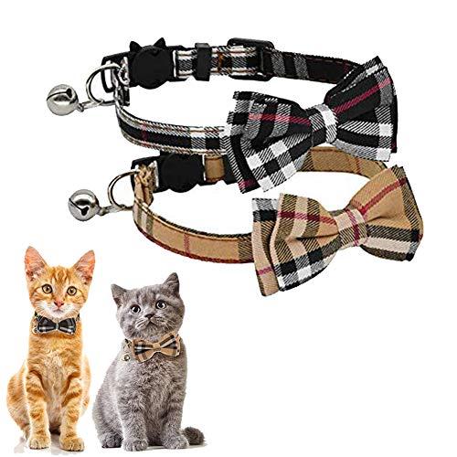 Kingkindsun Sicherheitsschnalle Katzenhalsband,Katzenhalsband mit Schleife Glocke in Schleife Katze, katzenhalsband mit Schleife Kariert,für Kätzchen und Welpen(Schwarz + Braun)