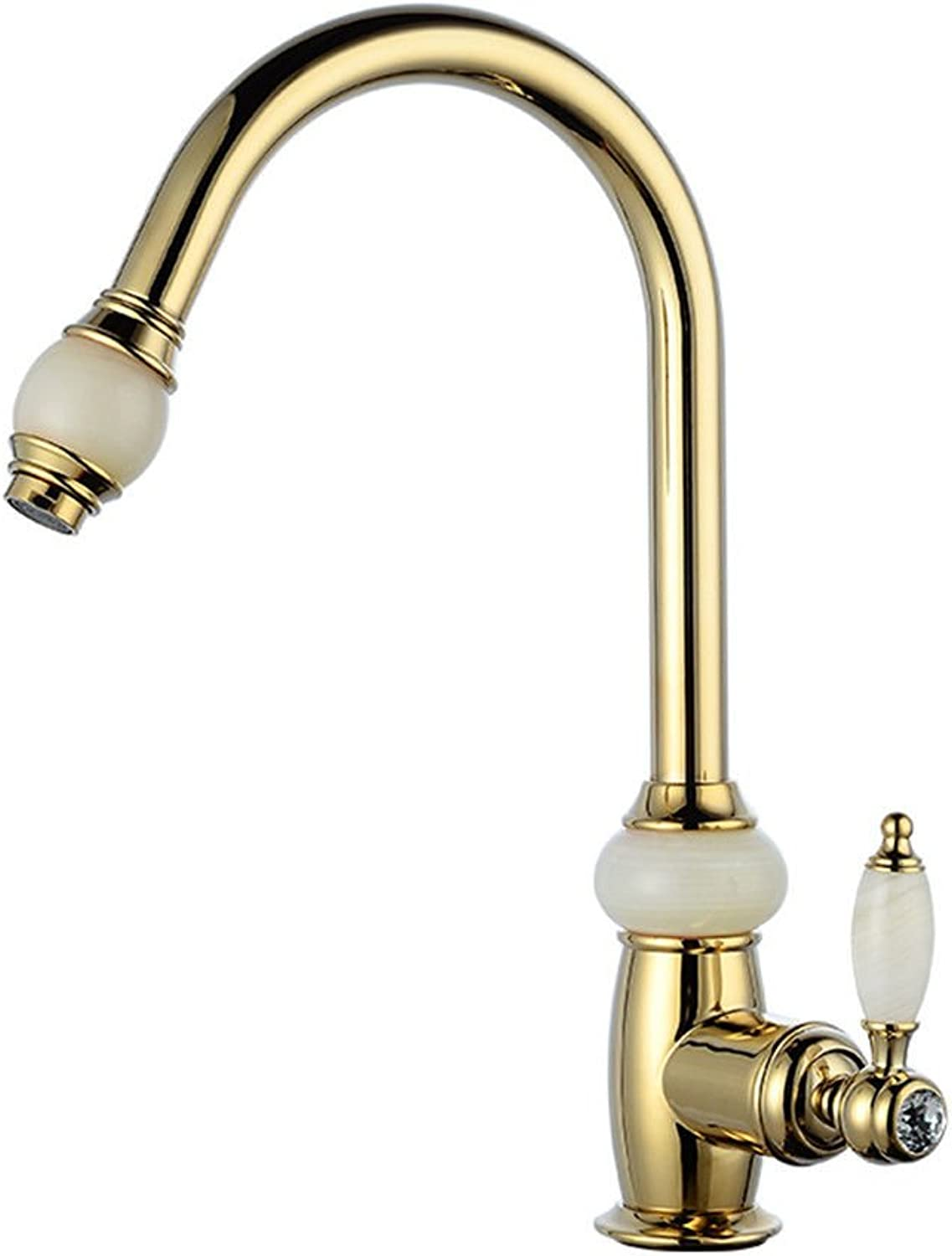 Commercial Single Lever Pull Down Kitchen Sink Faucet Brass Constructed Polished Copper Pull-Out gold Faucet Kitchen Single Hole Hot and Cold Water Faucet