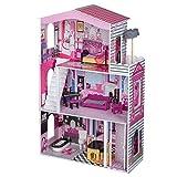 Eco Toys Puppenhaus Puppenvilla Puppenstube Holzspielzeug 3 Etagen Barbie Puppen Set Lift bunt +...