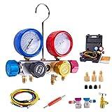BACOENG Conjunto de manómetro de diagnóstico de 4 vías Profesional para Carga de freón y evacuación de Bombas de vacío, refrigerantes R134A R410A y R22