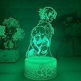 3D noche luz anime ataque a Titan 3D lámpara Annie Leonhart luz para dormitorio decoración niños regalo ataque a Titan LED noche luz Mikasa ZGTH