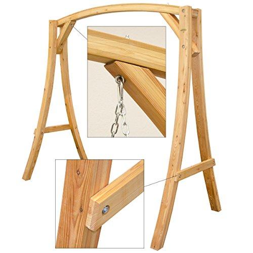 Hollywoodschaukel aus Holz Lärche Gartenschaukel Set Holzgestell mit 3-sitzer Holzbank Für Innen und Außen - 3