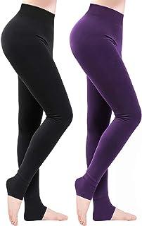 comprar comparacion Weeygo 2 Pares Leggings para Mujer, Cálidas de Invierno Pantalones de Talle, Elásticos Cintura Alta Forrado de Terciopelo ...
