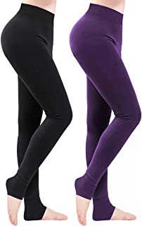Winter Thermal Leggings, 2 Pack Stretchy Warm Tights Pants with Thick Velvet Lined for Women Girl Black/Purple