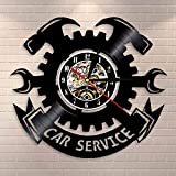 BFMBCHDJ Servicio de Coche Reparación automática Reloj de Pared Garaje Decoración de Pared Disco de Vinilo Reloj de Pared Herramientas de Garaje Llave de neumáticos Letrero de Pared Mecánico Regalos