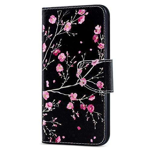 Huawei Honor 10 Lite Custodia Cover Portafoglio,Huawei P Smart 2019 Custodia Pittura colorata Wallet Shock-Absorption Magnetica Supporto Protettiva Bumper Cover Leather Flip Cover,HX Pink Flower