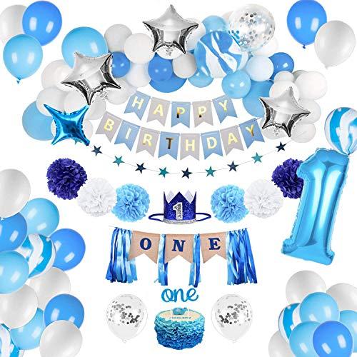 Geburtstagsdeko Blau Jungen 1 Jahr,Happy Birthday Banner Luftballons Blau,Luftballons Konfetti Ballons Blau Weiß,erst Geburtstag Deko Jungen,Folienballon Zahl 1,Junge Deko 1 Geburtstag (B)