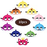 Colmanda Kinder Masken, 10 Stück Shark Party Masken Cosplay Masken Geburtstag Augen Masken Filz Masken für Erwachsene und Kinder Party Maskerade
