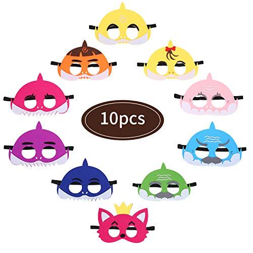 Colmanda Fieltro Máscaras, 10 Piezas Máscaras de Niños Fiesta Máscaras Animales Cumpleaños Cosplay Personaje para Navidad Halloween Cumpleaños Cosplay