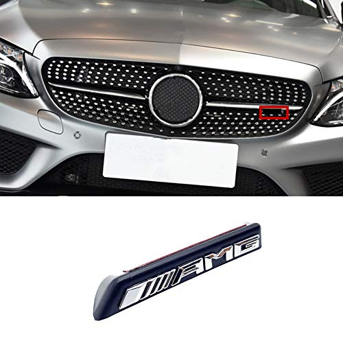 N/A Kühlergrill Stoßstange vorne mit AMG Diamond Logo für Mercedes Benz Mini Logo AMG A B C E-Klasse W176 W246 W204 W205 W212 W213 silber