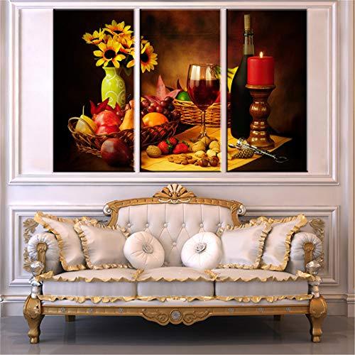 FENGCLOCK Mesa de Comedor Bodegón la Cocina Cuadro en Lienzo, Fruta la Comida la Flor la Vela Vino Tinto Cuadros Modernos Decoración Salón Decoración de Pared,30x60cmx3