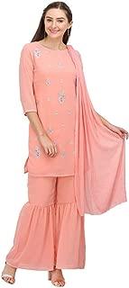 Imara Womens Round Neck Embroidered Sharara Suit