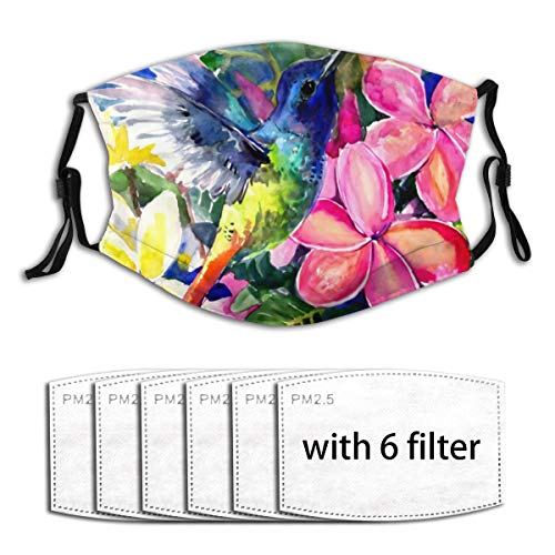 Cute Mouth Guard with Replaceable PM2.5 Activated Carbon Cover for Metro Fishing Daily Use Washable Anti Pollution Dust Guard, Hummingbird and Plumeria Florwers Tropical Bright Floral - 6 Filters