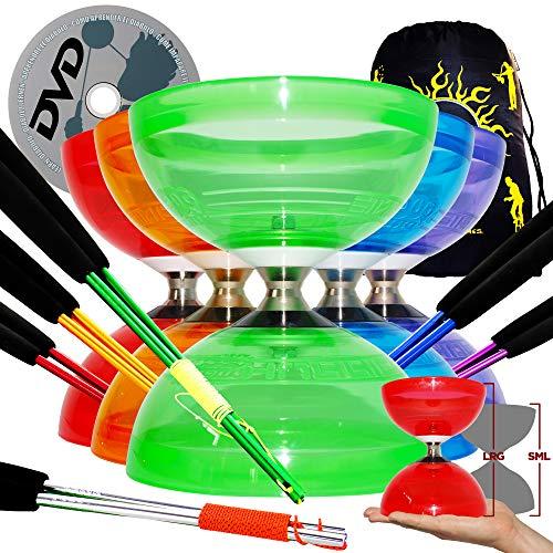 Juggle Dream HURRICANE Diabolo JUMBO Diabolo Triple Rodamiento + Palos de Mano Ali Coloridos, Cuerda de Diábolo + DVD Aprender + Bolsa de Viaje (Verde + Palos Plata + DVD)