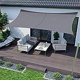 RATEL Sonnensegel Grau 3 × 5 m Rechteckig, wasserdicht Windschutz mit 95% UV Schutz Sonnenschutz für Draußen, Patio, Garten Terrasse Camping