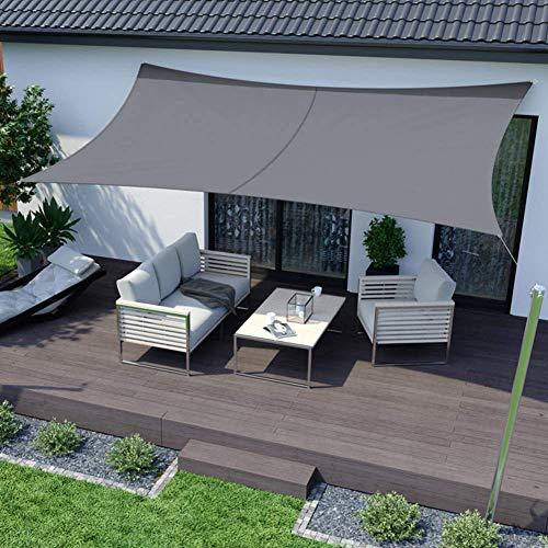 RATEL Toldo Vela de Sombra Rectangular Gris 3 × 5 m, protección 95% UV y Transpirable Impermeable, para Jardín, Patio, Exteriores, Pergola Decking