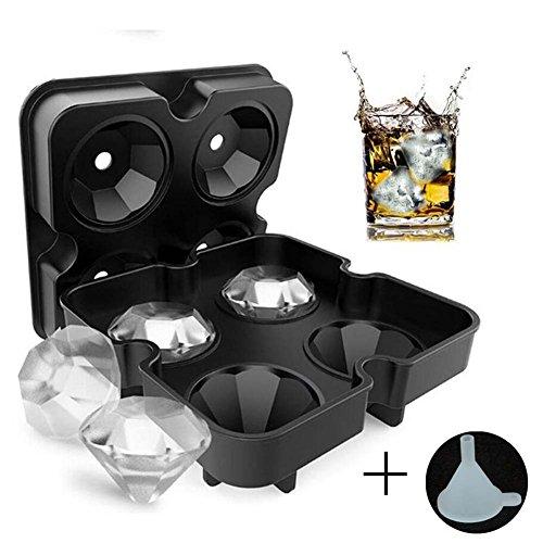 MAKFORT Diamant Eiswürfelform mit Deckel 3D Eiswürfel Schädel Formen, BPA Free, 4 stück