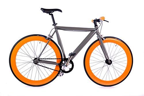 BOX39 Bici Single Speed-Fixed, Scatto Fisso, Grigia/Arancio, Lintesa