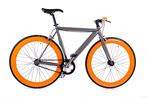 BOX39 Bici Single Speed-Fixed, Scatto Fisso, Grigia/Arancio, L'intesa