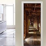 QHOXAI Etiqueta De La Puerta 3D Autoadhesiva Pvc Etiqueta De La Pared Extraíble Espacio De Expansión De Árbol De Madera Para La Decoración Del Hogar Pared Para La Sala De Estar Dormitorio Cocina 77X20
