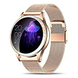 Yocuby Smart Watch for Women,Bluetooth Fitness Tracker Compatible with iOS,Android Phone, Sport Activity Tracker with Sleep/Heart Rate Monitor, Calorie Counter (Renewed)
