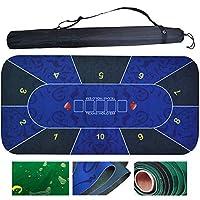 ポータブルポーカーマット、防水レクタングルテキサスホールデムゲームマット、ラスベガスデザインルーレットマット、黒色の収納バッグ付き、最大10か所、0.6x1.2m