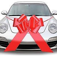 QUACOWW - Lazos grandes de 23 pulgadas para coche, color rojo, para decoración de regalos grandes, para coche, día de San Valentín, boda, fiesta