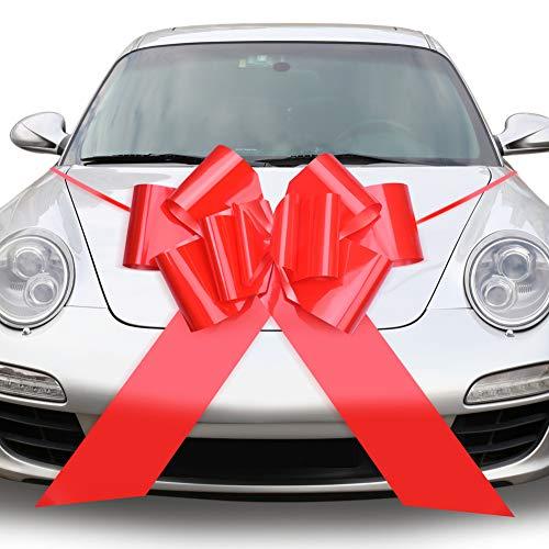 QUACOWW Lazos grandes para coche, color rojo, 58 cm, para decoración de regalo, para coche, día de San Valentín, boda, fiesta