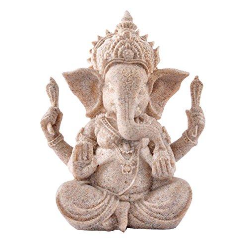 Kitchnexus, statua di Buddha Ganesh, il dio elefante, in pietra arenaria, per il feng shui e la decorazione degli interni As Pic