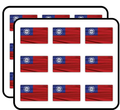 Myanmar Burma Wavy Flag 2' 18 Pack Planner Calender Scrapbooking Crafting Stickers