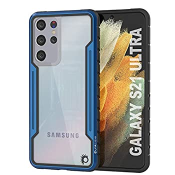 Punkcase Galaxy S21 Ultra Case [Avenger Defense Series] Protective Military Grade Multilayer Cover W/Aluminum Frame [Clear Back] Ultimate Drop Protection for Your S21 Ultra 5G  6.8    2021   Blue