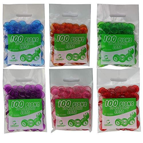 CARTALOTO-50 Beutel mit 100 Spielsteinen, Loto, ACJP15, Mehrfarbig