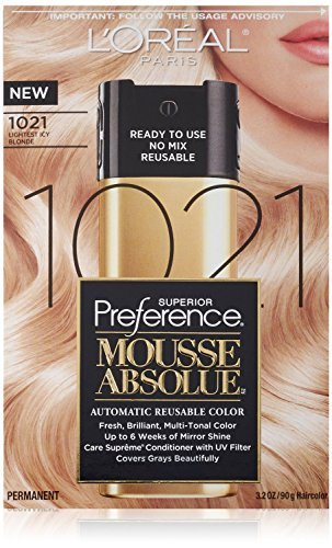 2Pack - L'Oreal Paris Hair Color Superior Preference Mousse Absolue, 1021 Lightest Icy Blonde
