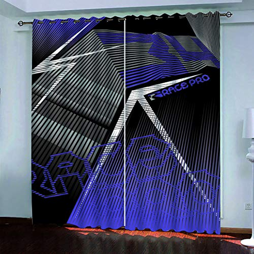 Modern And Simple Fabric Curtains, 3D Digital Printing Polyester Waterproof Curtains, Bedroom And Living Room Balcony Blackout Vertical Curtains (2 Pieces)