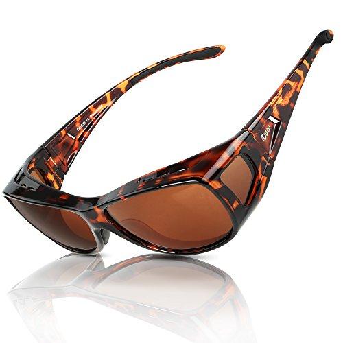 DUCO Herren und Damen Sonnenbrillen Polarisiert Unisex Brille Überbrille für Brillenträger Fit-over Polbrille 8953 (M - Tortoise)