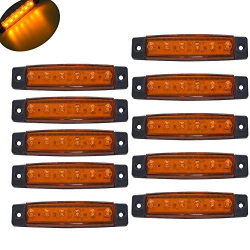 JinXiu 10 pz 9,7 cm 6 LED Indicatore luce laterale pilota luci di segnalazione rimorchio luci di segnalazione per camion(ambra)